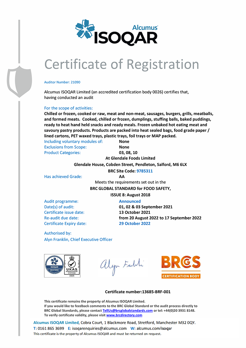 ISOQAR Certificate - Glendale Foods Limited